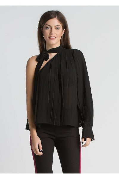 Tie Neck One Sleeve Top