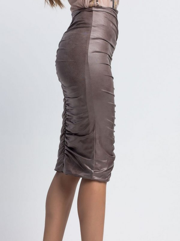 Midi Faux Leather Skirt