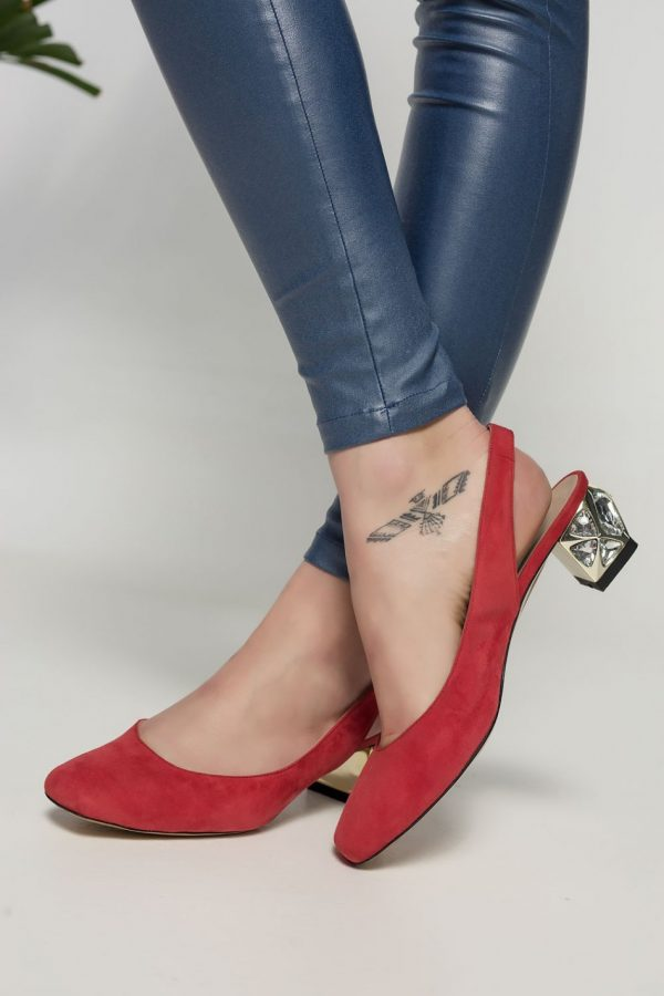 Red Embelished Mid Heel Pumps