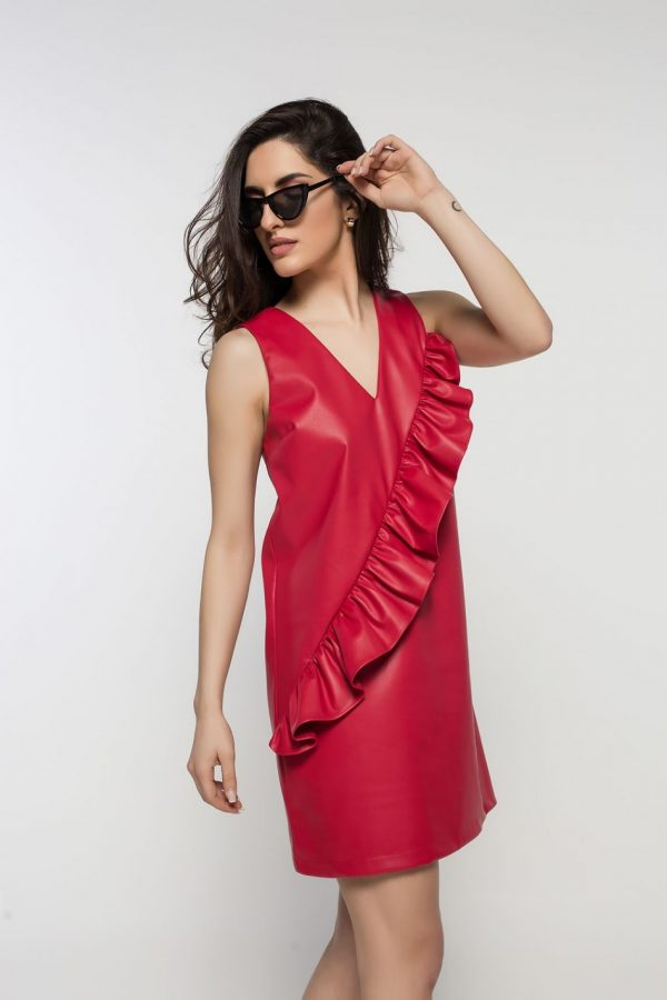 Red Mini Ruffle Dress