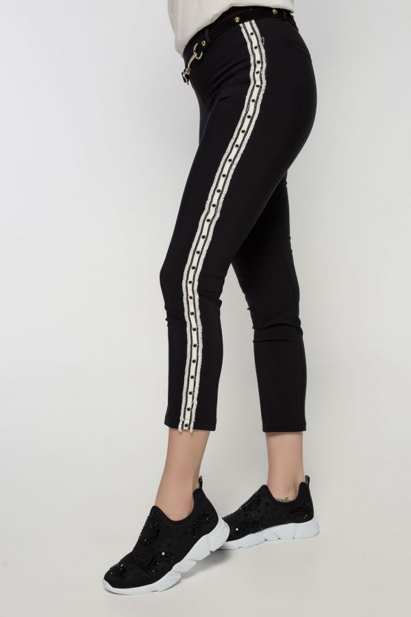 Side Stripe Black Pants