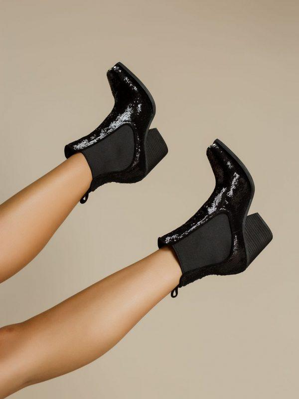 Black Sequin Booties