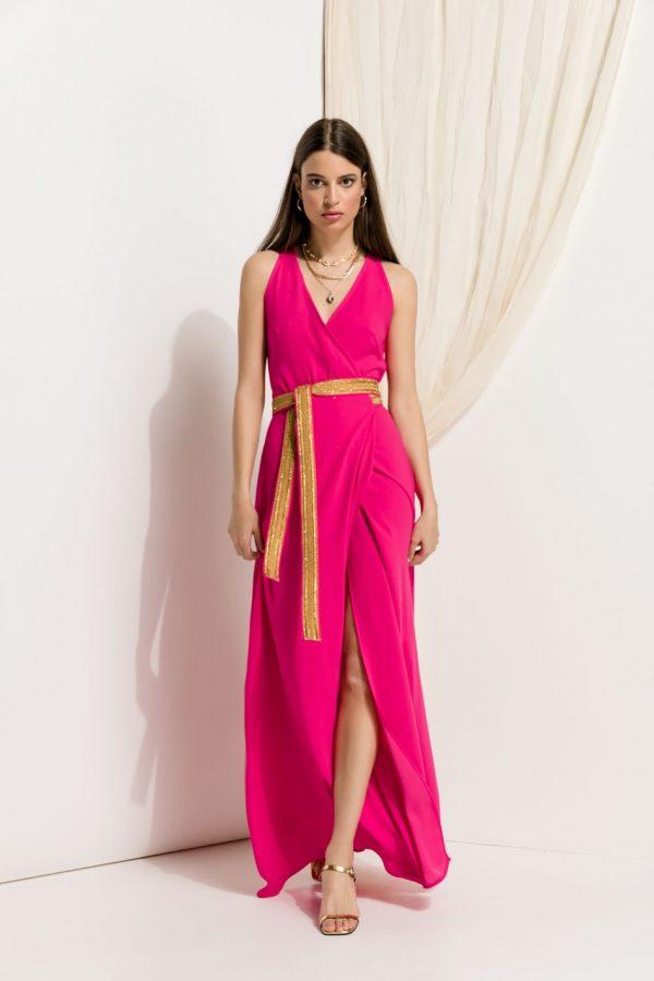 Maxi Fuchsia Wrap Dress
