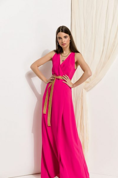 Maxi Fuchsia Wrap Dress