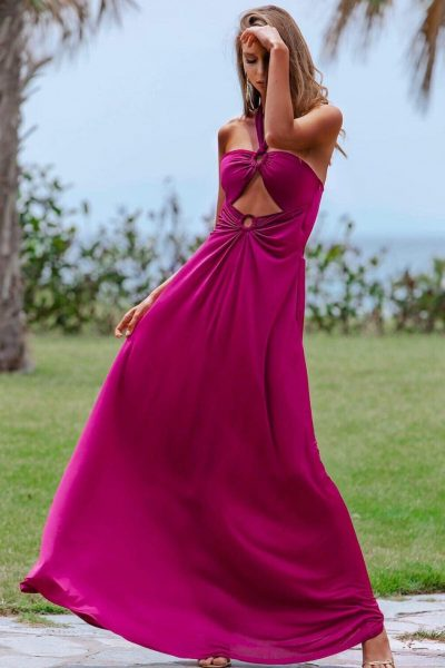 Selena Magenta Maxi Dress
