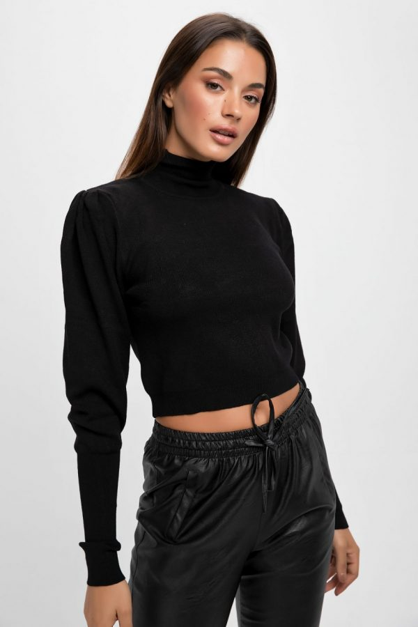 Black Puff Sleeves Knit