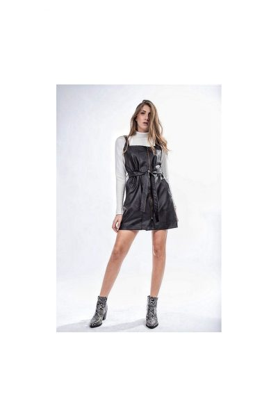 Mini Leather Belted Dress