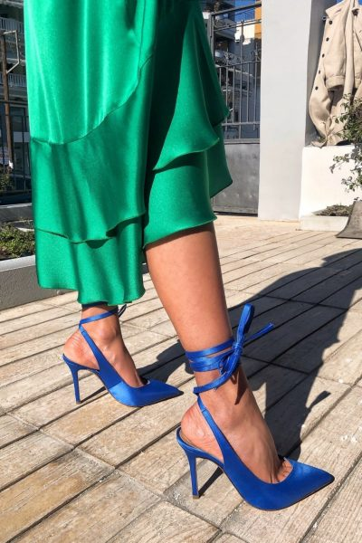 Lace Up Satin Pumps