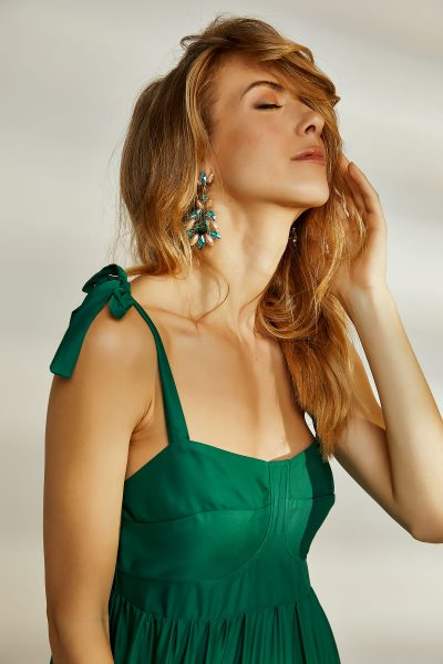 Drop Jeweled Green Earrings