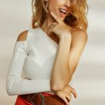 Cut Out One Shoulder Knit Top – White