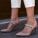 Beige Jeweled Mules