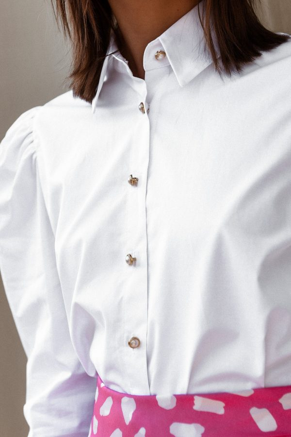 White Shirt Padded Shoulders
