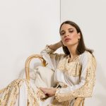 Amalia Embroidered  Dress – White – Gold