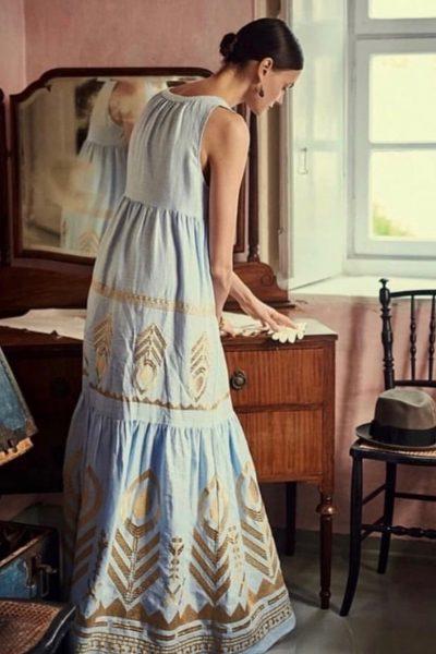 Long Feather Linen Dress
