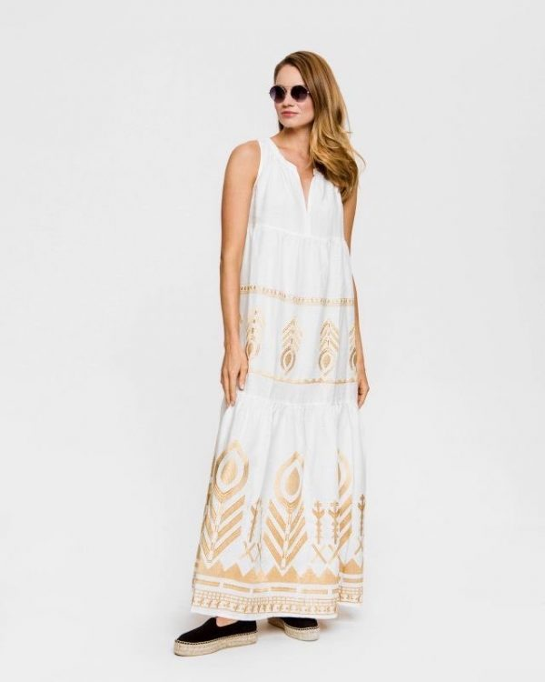 Long Feather Linen Dress White – Bronze