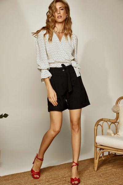 Paperbag Highwaist Linen Shorts – Black