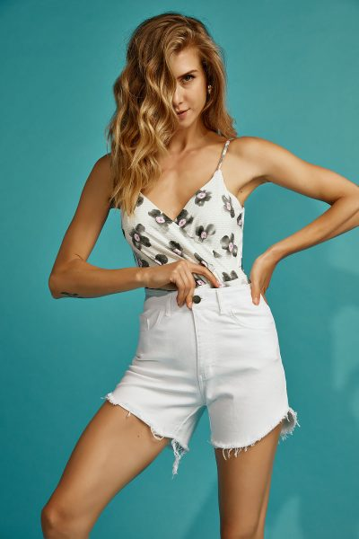 Olivia White Denim Shorts