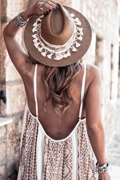 Areti Embroidered White – Bronze Maxi Dress