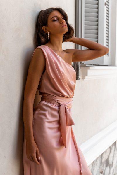 One Shoulder Silky Dress – Nude
