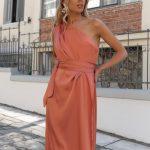One Shoulder Silky Dress – Terracotta