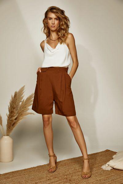 Linen Bermuda Shorts – Brown