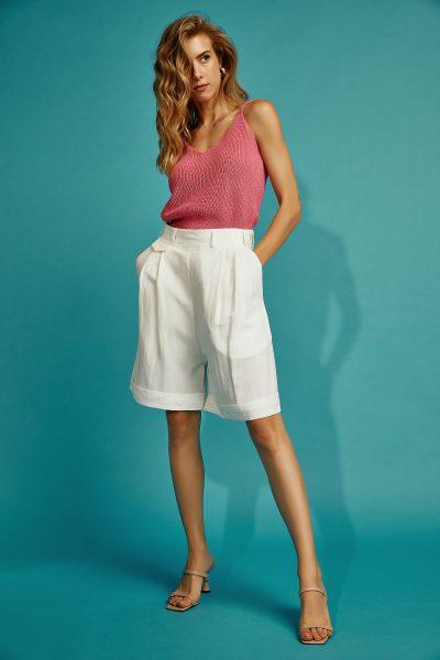 Linen Bermuda Shorts – White