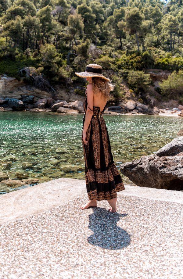 Areti Embroidered Black – Bronze Maxi Dress