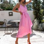 Dalia Wrap Silky Dress – Pink