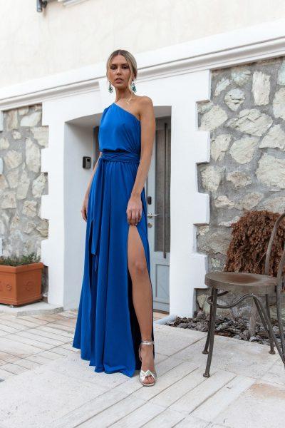 One Shoulder Maxi Dress – Royal Blue