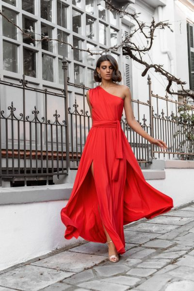 One Shoulder Maxi Dress – Red
