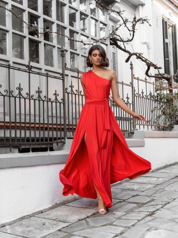 One Shoulder Maxi Dress – Red