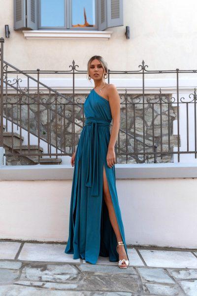 One Shoulder Maxi Dress – Petrol Blue