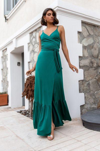 Wrap Maxi Dress – Emerald Green