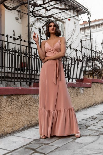 Wrap Maxi Dress – Nude