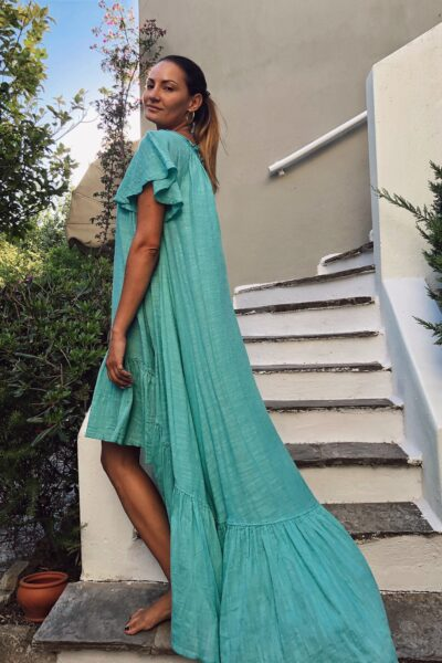 Folegandros Mint Assynmetrical Dress