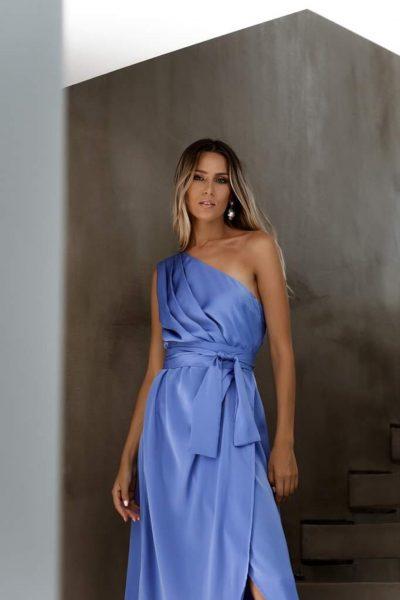 One Shoulder Silky Dress – Sky Blue