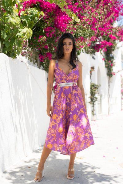 Magenta Midi Dress