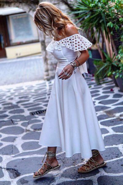 White Full Skirt