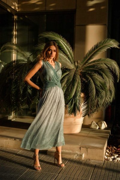 Silver Rain Midi Dress
