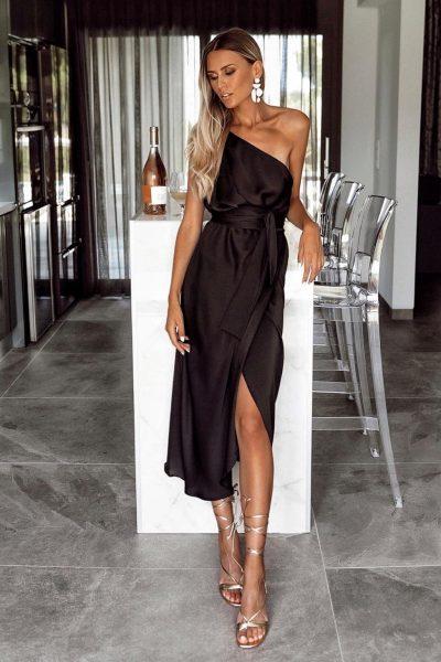 One Shoulder Silky Dress – Black