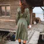 Khaki Eco Leather Dress