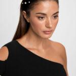 Cut Out One Shoulder Knit Top – Black
