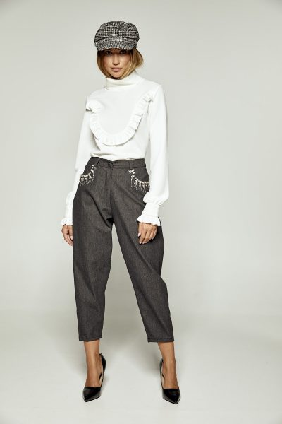 Grey Jeweled Crop Pants