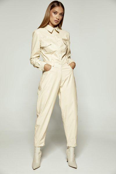 Cream Leather Shirt