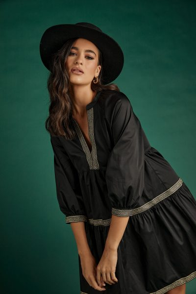 Valentina Boho Dress – Black