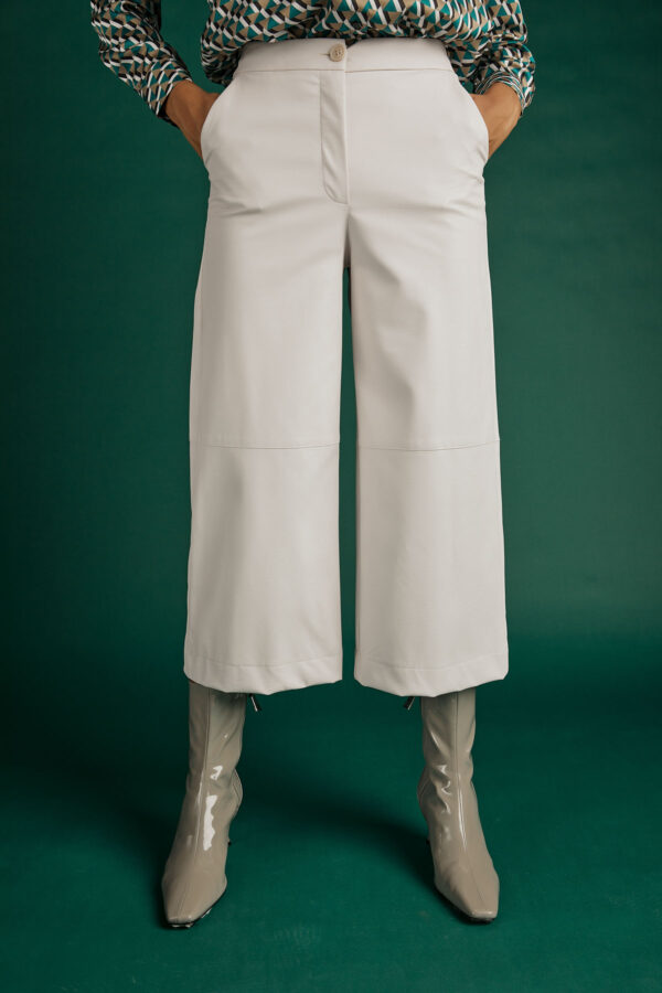 White Leather Cullotes