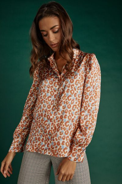 Orange Leopard Silky Shirt