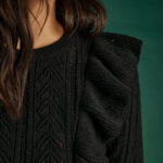 Black Ruffled Cropped Knit