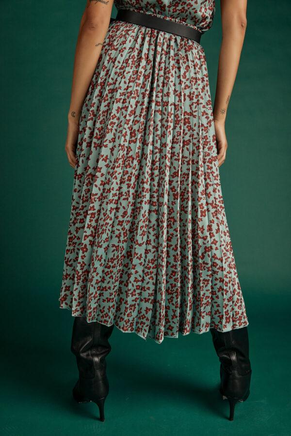 Pleated Midi Skirt – Floral