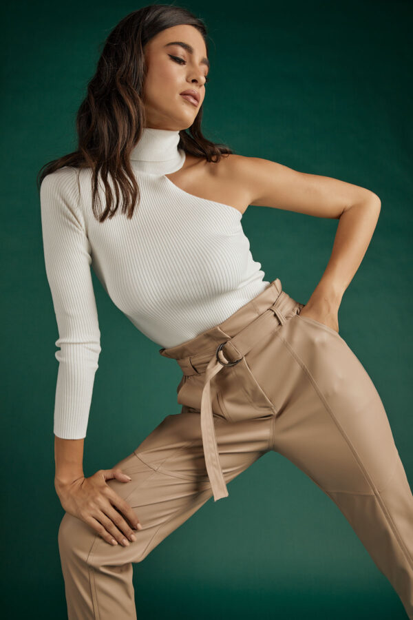 Highwaist Belted Leather Pants -Fango